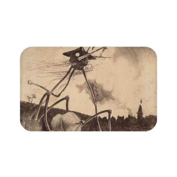War Of The Worlds, 2 of 6, Bath Mat, Vintage 1906 Illustration, H.G. Wells