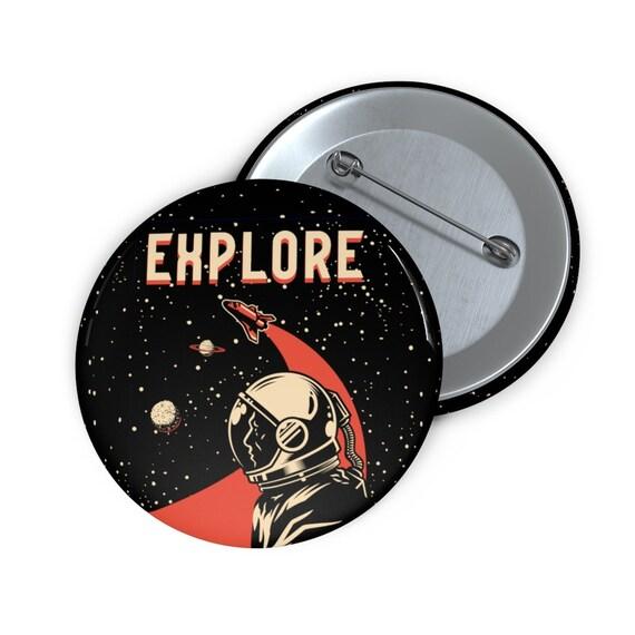 "Explore 2"" Pin Button, Vintage Retro design, Space Fan, NASA Fan"
