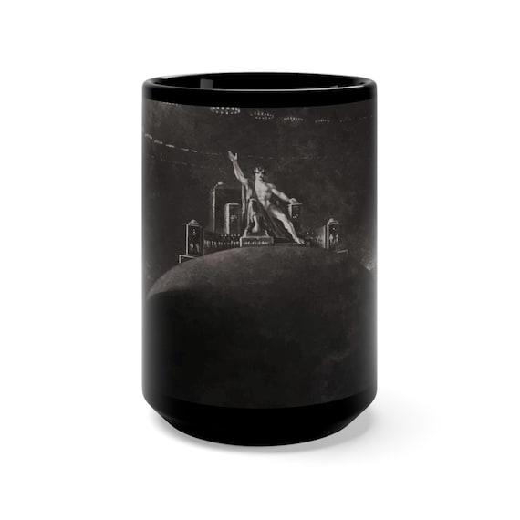 Satan Presiding At The Infernal Council, Black 15oz Ceramic Mug, Paradise Lost, Vintage, Antique Image, 1824