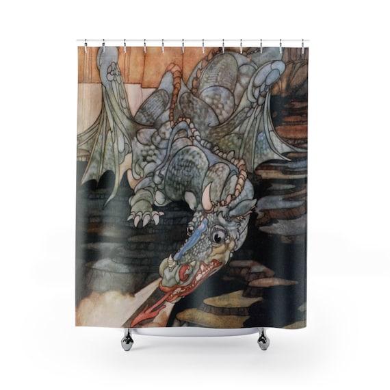 Here Be Dragons, Shower Curtain, Vintage Art Nouveau Illustration