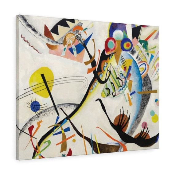 """Blue Segment, 30""""x24"""" Gallery Wrap Canvas, Wassily Kandinsky, Abstract"""