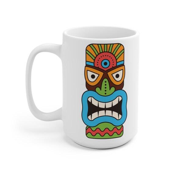 Tiki Mask 15oz White Ceramic Mug, Retro, Vintage, Polynesia