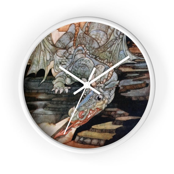 "Here Be Dragons, 10"" Wall clock, Vintage Art Nouveau Illustration"