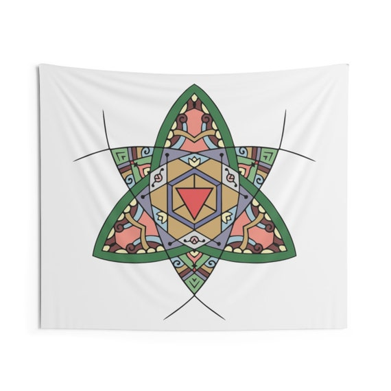 Double Trinity Mandala, Indoor Wall Tapestry, Vintage Inspired Image