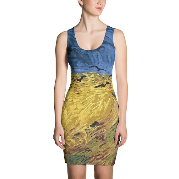 Wheat Field With Crows, Fitted Dress, Vintage Painting, Van Gogh 1890