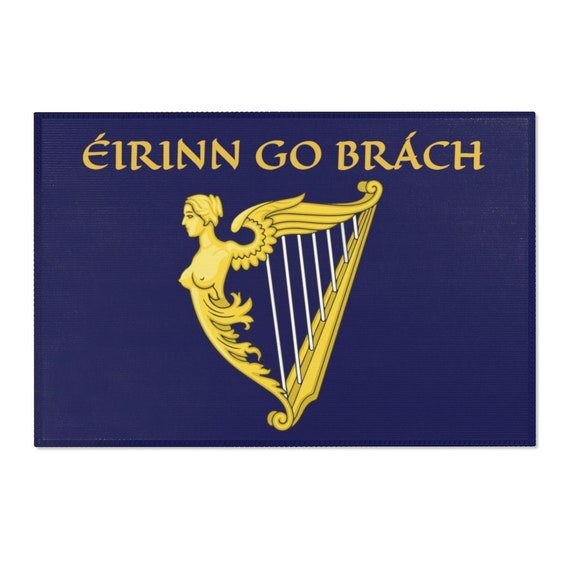 "Eirinn Go Brach, 36""x24"" Door Mat, Ireland, Blue Harp Flag, Coat Of Arms, Irish Pride, Wall Decor, Room Decor"