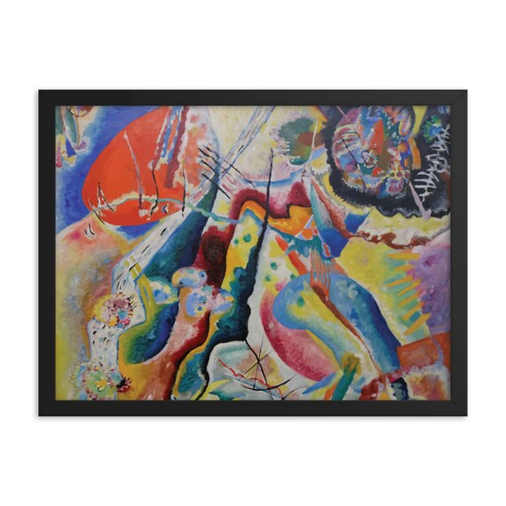 """Red Chalkboard, 24""""x18"""" Framed Poster, Black Wood Frame, Acrylic Covering, Wassily Kandinsky, Abstract, Room Decor"""