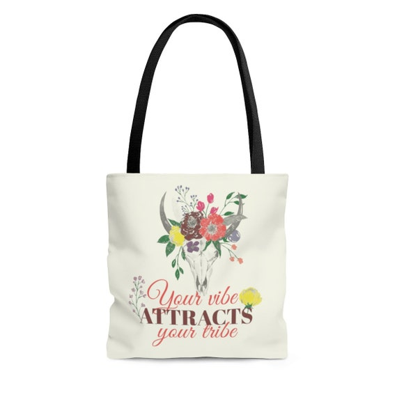 Your Vibe Attracts Your Tribe, Square Tote Bag