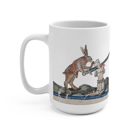 Medieval Killer Rabbit White 15oz Ceramic Mug, From Medieval Manuscript, Marginalia, Coffee, Tea