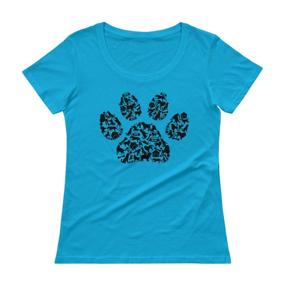 Dog's Paw, Ladies' Scoopneck T-Shirt, Vintage Inspired Dog's Paw Made Up Of Dog Related Icons