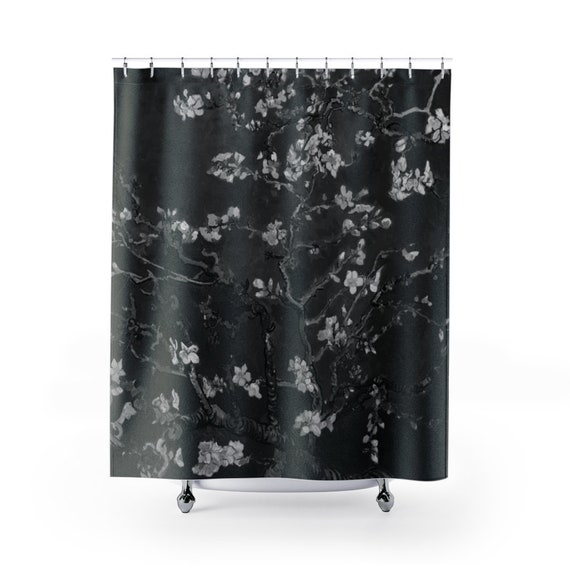 Almond Blossoms On Black Polyester Cloth Shower Curtain, Vincent Van Gogh, 1890