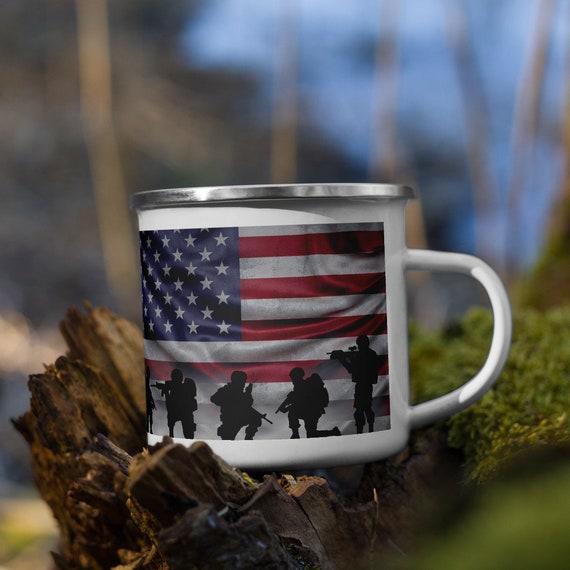 American Soldiers Enamel Mug, Camp Mug, American Flag, Patriotic, Patriotism, U.S. Military, Outdoor, Coffee, Tea