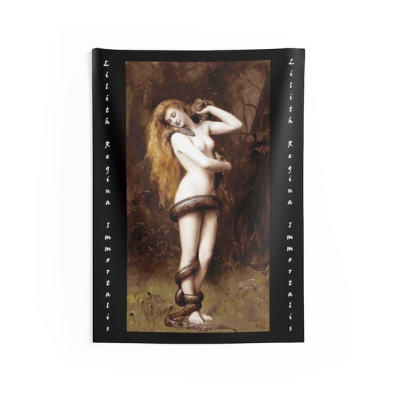 "Lilith And The Serpent 26""x36"" Indoor Wall Tapestry, Wicca, Feminism"