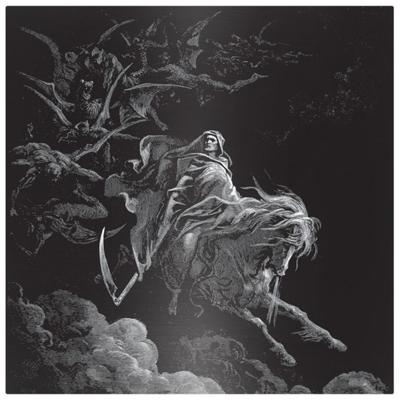 Death Riding The Pale Horse, Matte Metal Print, Vintage, Antique Illustration, Gustave Dore, 1865