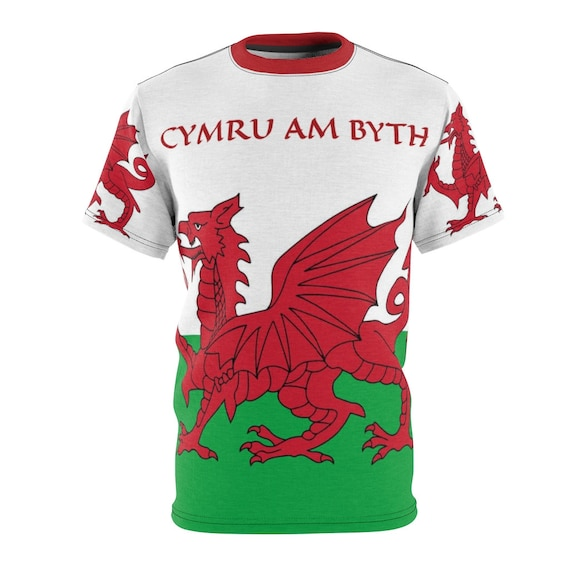 Cymru Am Byth,  Unisex T-shirt, Red Dragon, Flag Of Wales, Welsh Motto, Welsh Pride, AOP