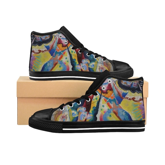 Wassily Kandinsky, Red Chalkboard, Men's High-top Sneakers, Abstract