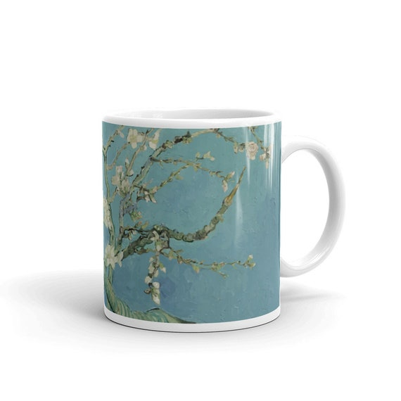 Almond Blossoms, White Glossy Mug, Vintage, Antique Painting, Vincent Van Gogh, 1890