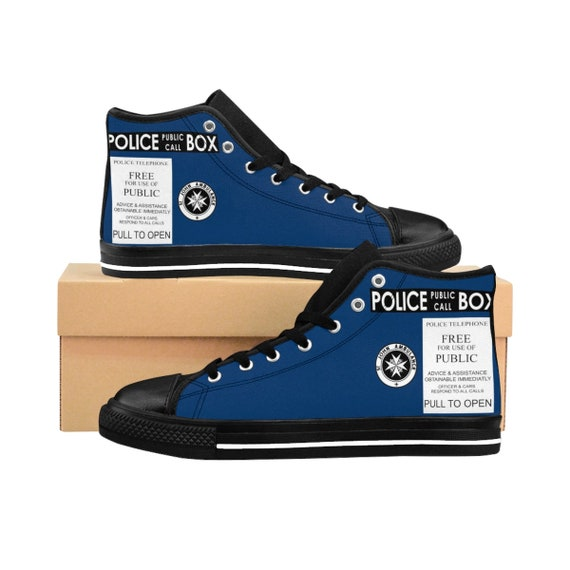 TARDIS, Women's High-top Sneakers, Inspired By Doctor Who