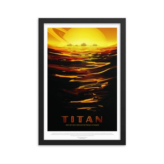 "Solar System: Titan, 12"" x18"" Framed Poster, Black Wood Frame, Acrylic Covering, Fake Vintage/Retro Style NASA Travel Poster, Room Decor"