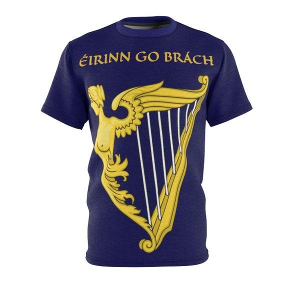 Eirinn Go Brach,  Unisex T-shirt, Ireland, Blue Harp Flag, Coat Of Arms, Irish Pride, AOP