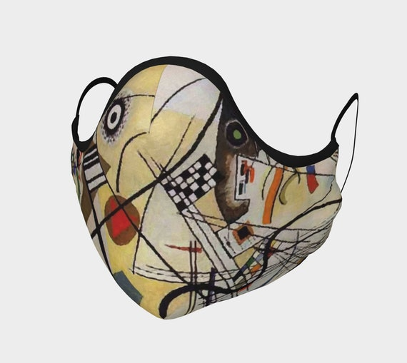 Transverse Line, Face Mask, 7 Sizes, Filter Pocket, Filters, 100% Cotton, Vintage Abstract Painting