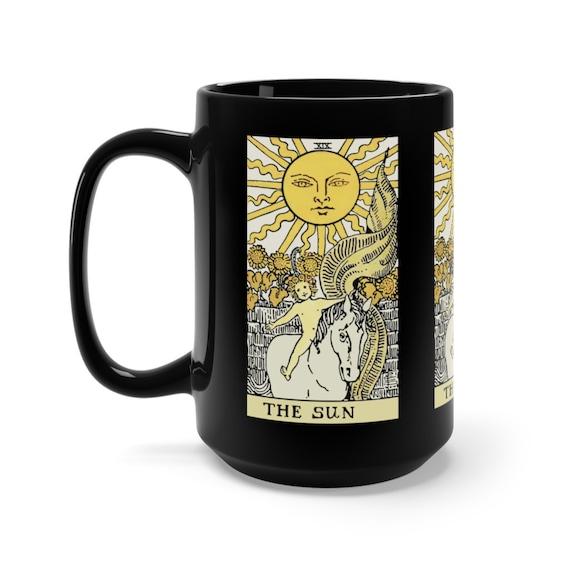 The Sun, Black 15oz Ceramic Mug, Tarot Card, Major Arcana, From Vintage Rider-Waite Deck, Coffee, Tea
