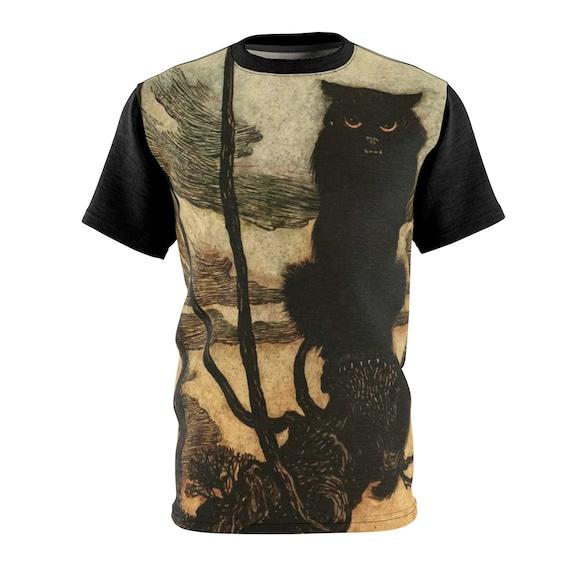 Black Cat, AOP Shirt, Halloween, Arthur Rackham, Halloween, Witches Familiar, Witchcraft
