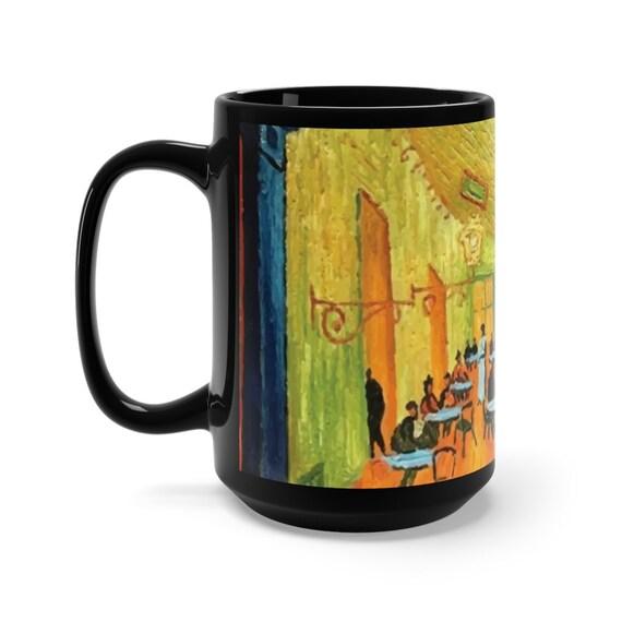 Cafe Terrace At Night, Black Ceramic Mug, 15oz, Vincent Van Gogh, Coffee, Tea