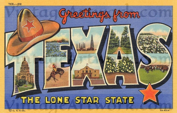 Greetings From Texas Postcard Front, Digital Download, Curt Teich & Co. Publisher,  1938