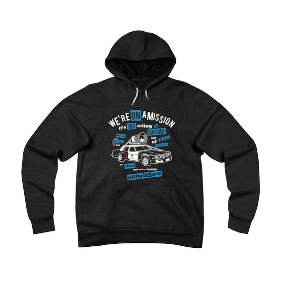 Blues Brothers On A Mission, Unisex Sponge Fleece Pullover Hoodie, Bluesmobile