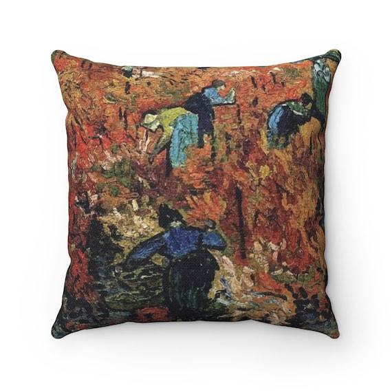 Red Vineyard, Spun Polyester Square Pillow, Vintage Painting, Van Gogh 1888