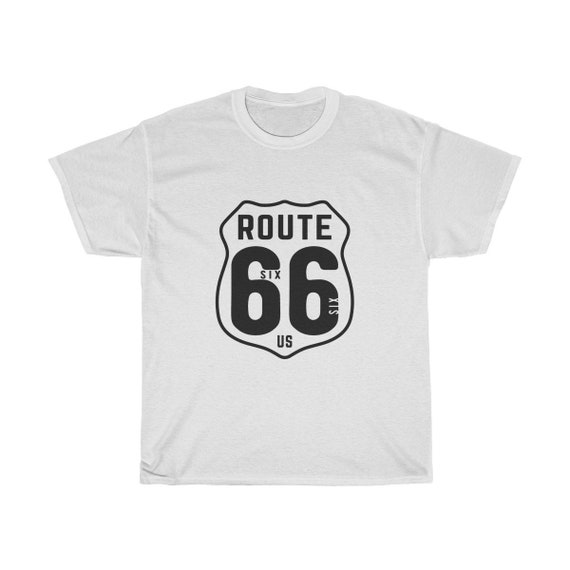Route 66, Unisex Heavy Cotton Tee, Vintage Inspired Image, Route 66 Highway Sign