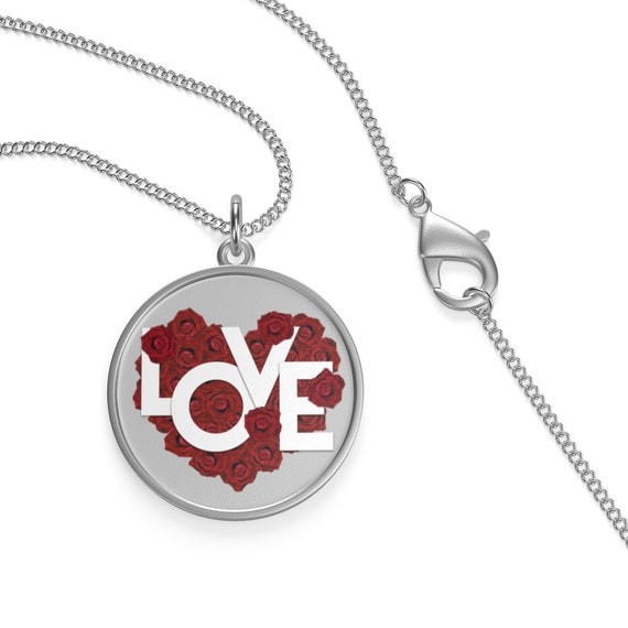 "Love, 16"" Sterling Silver Chain Necklace, Valentine's Day Gift, Birthday, Anniversary"