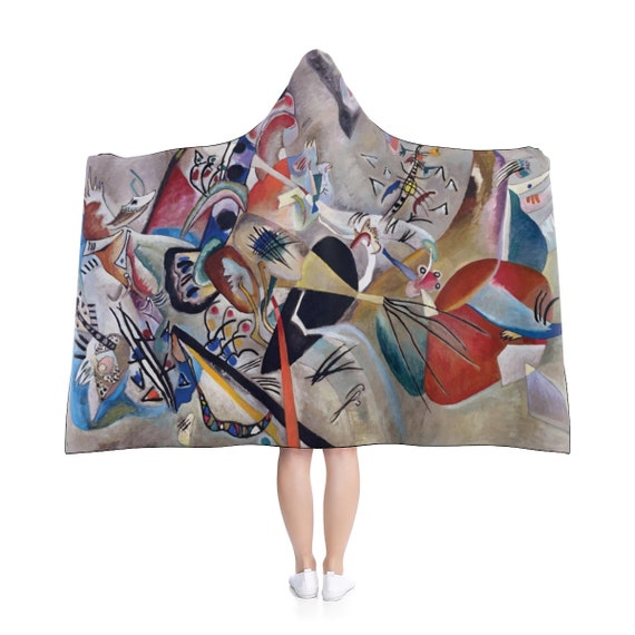 "Wassily Kandinsky, In Grey, 80""x56"" Hooded Blanket, Abstract"