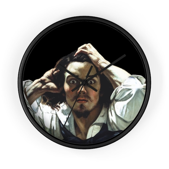 """WTF Is Going On?, 10"""" Black Wall Clock, Vintage Painting, Gustave Courbet, 1845"""