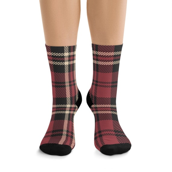 Muted Red & Black Plaid Premium Crew Socks, One Size Fits Most