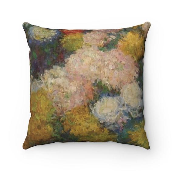 Chrysanthemums, Spun Polyester Square Pillow, Vintage, Antique Painting, Claude Monet, Circa 1880