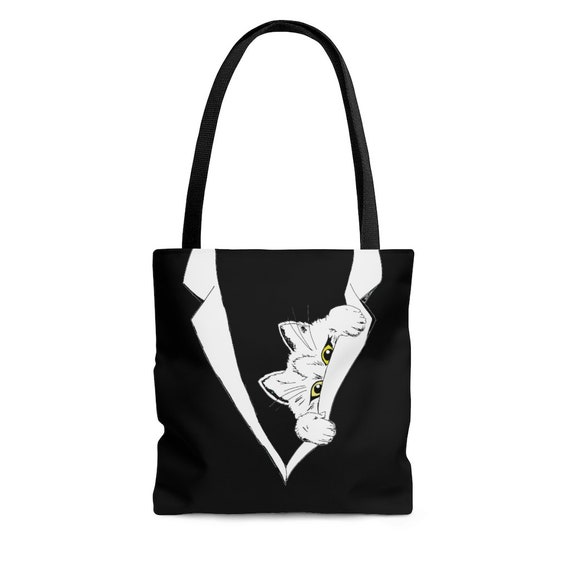Peekaboo Kitten, Black Square Tote Bag