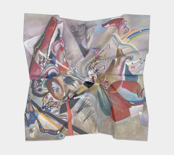 In Gray, Silk Scarf, Square, 4 Sizes, Wassily Kandinsky, Abstract