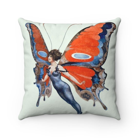 Butterfly Woman, Spun Polyester Square Pillow, Vintage, Antique Illustration, Circa 1920