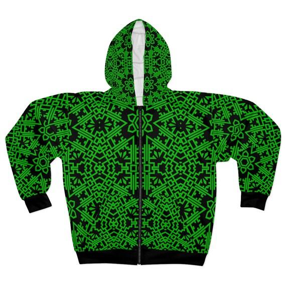 Green Vintage Tribal Pattern, Unisex Zip Fleece Hoodie