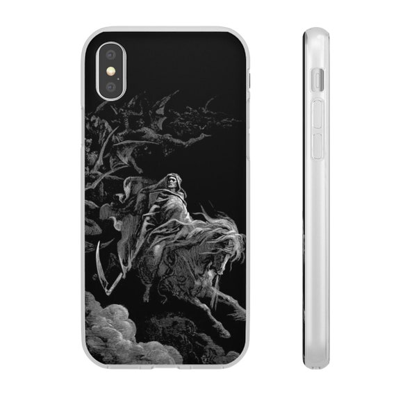 Death Rides The Pale Horse, iPhone X Series Flexi Case, Halloween, Vintage, Antique Illustration, Gustave Dore, 1865
