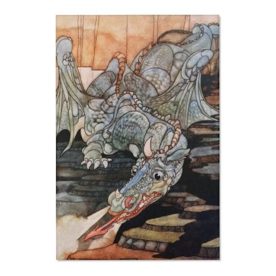 Here Be Dragons, Area Rug, Vintage Art Nouveau Illustration
