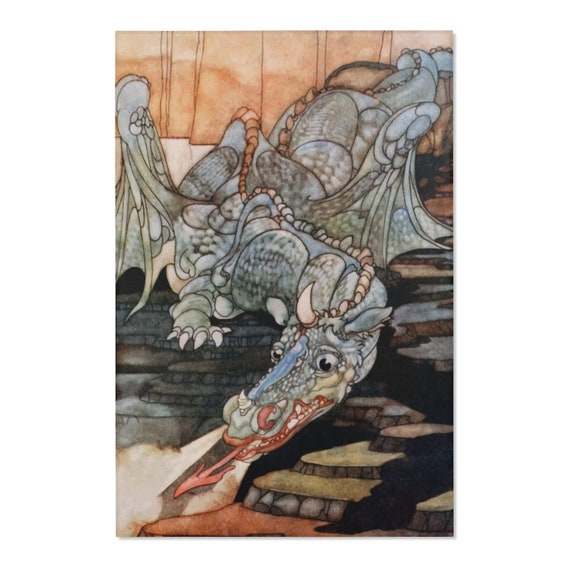 Here Be Dragons, 2'x3' Door Mat & 4'x6' Area Rug Sizes, Vintage Art Nouveau Illustration