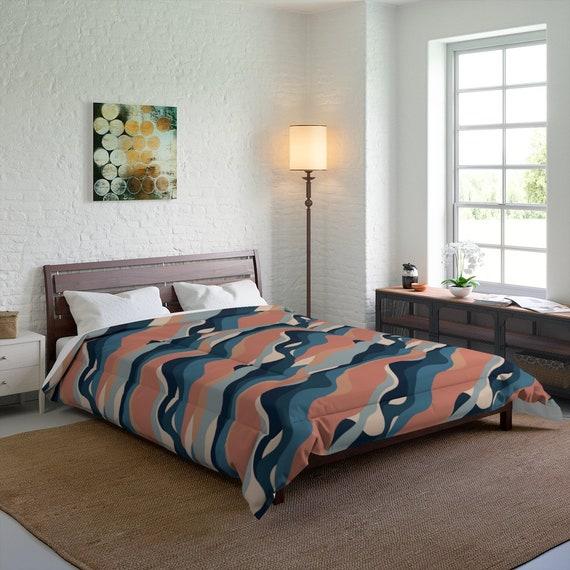Abstract Waves Queen Comforter, Mid-century, Vintage, Retro