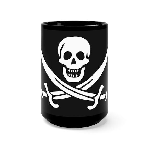 Skull & Crossed Cutlasses, Black 15oz Ceramic Mug, Pirate Flag, Jolly Roger