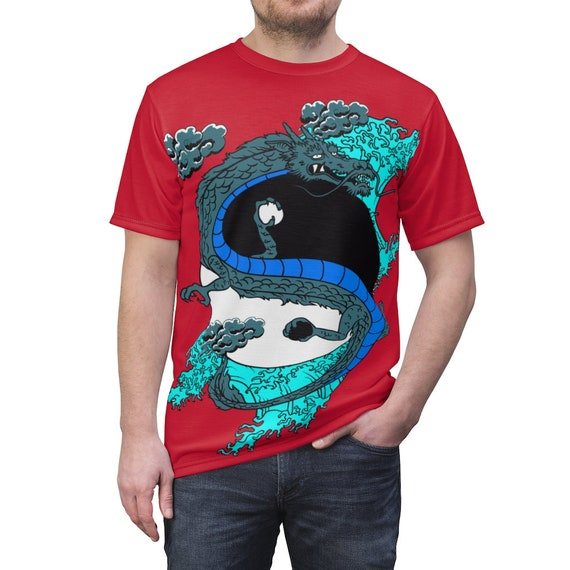 Yin-Yang Dragon v2 Shirt, Vintage Retro Style Design, Japanese & Chinese Folklore, AOP