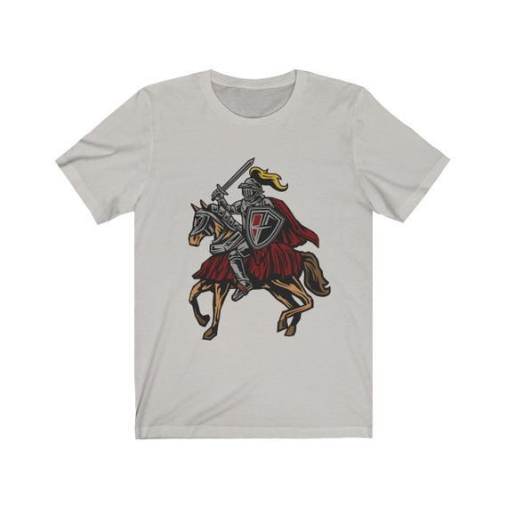 Fantasy Quest, Unisex Jersey Short Sleeve Tee, Vintage Inspired Knight On Horseback Image