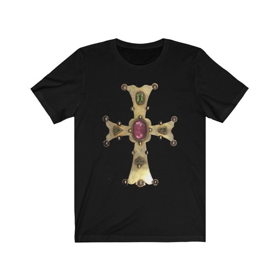 Medieval Gold Cross Bella+Canvas Soft T-shirt, 13th Century, High Middle Ages, Christian Religion