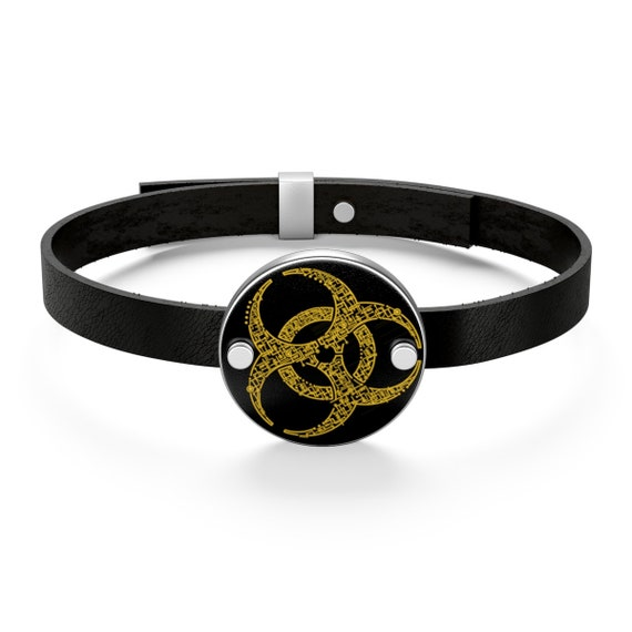 Electronic Biohazard, Sterling Silver And Leather Bracelet, Retro Geeky Illustration